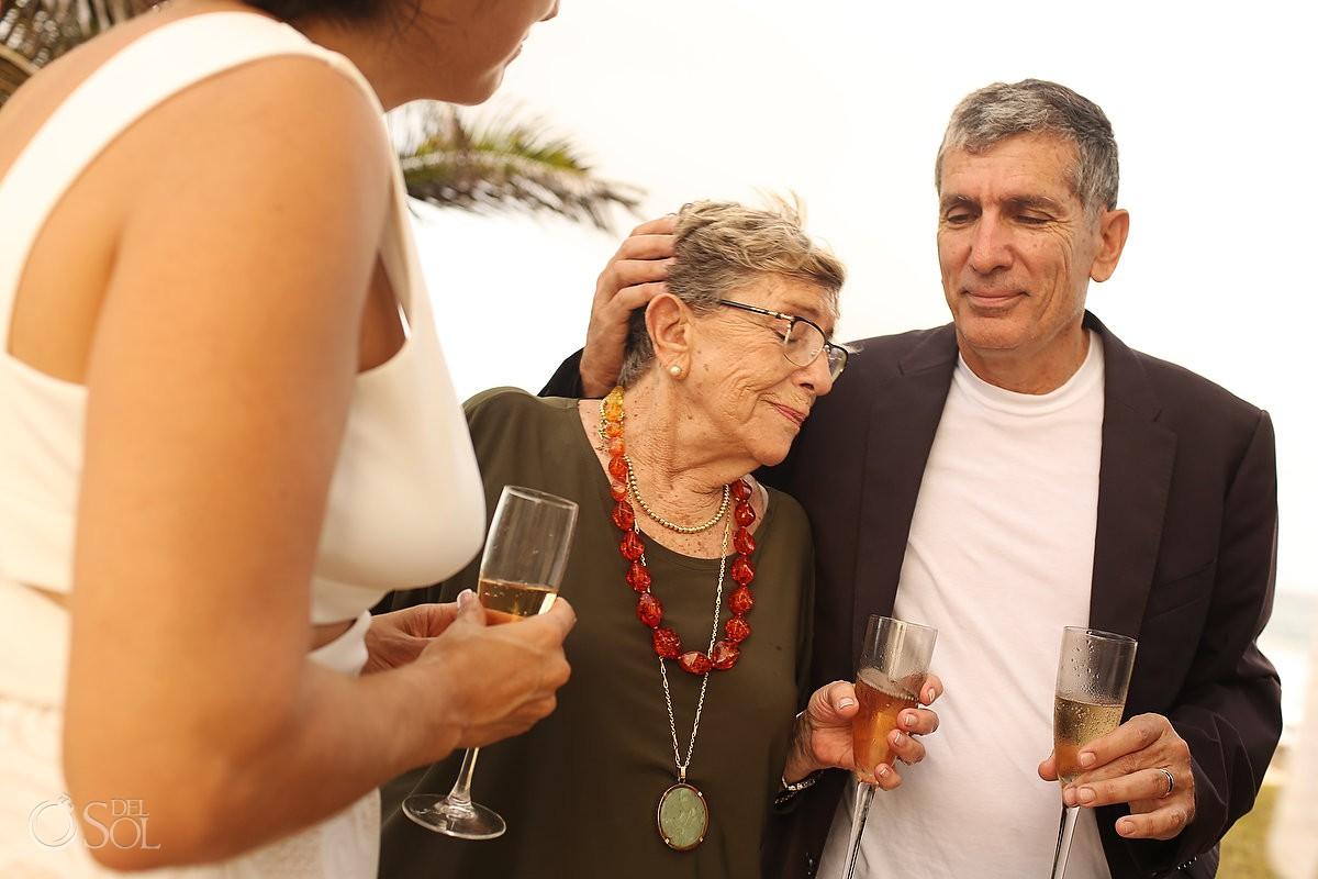mom and groom sons love wedding moments Akumal Punta Sur Riviera Maya Mexico