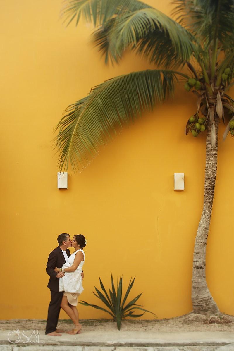 Bride and groom wedding portrait Akumal Punta Sur Riviera Maya Mexico