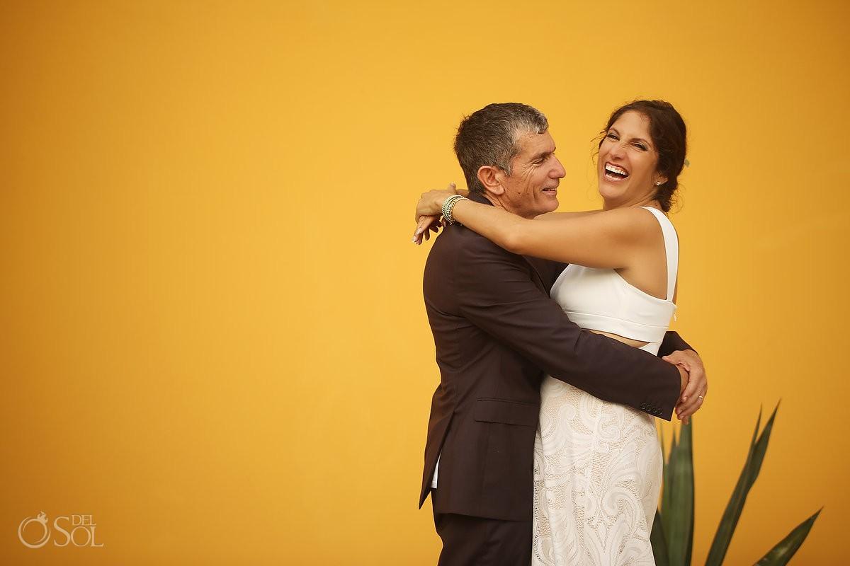 Bride and groom laughing wedding portraits Akumal Punta Sur Riviera Maya Mexico