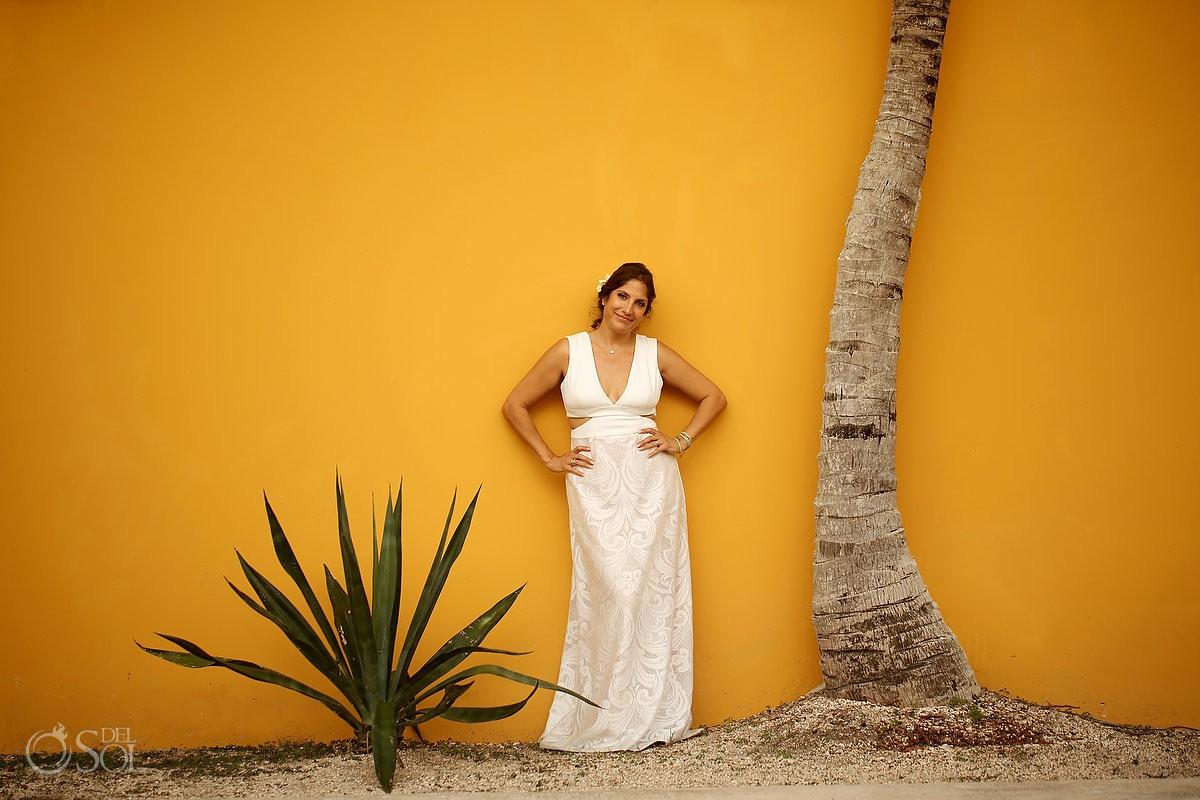 Beautiful Bride portrait Mexican colors Destination Wedding Akumal Punta Sur Riviera Maya Mexico