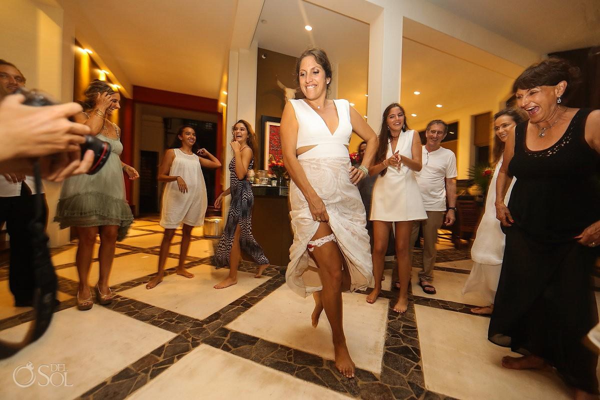 Wedding reception bride dancing party time Akumal Punta Sur Riviera Maya Mexico