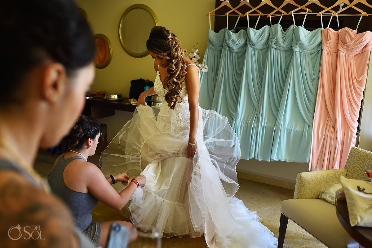 Bride getting ready Moon Palace Cancun Mexico