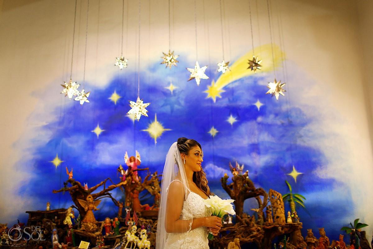 Destination Wedding Xcaret Park Playa del Carmen Mexico Bride Portrait