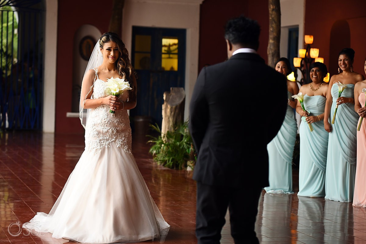 Bride and Groom First look Xcaret Park Playa del Carmen Mexico.