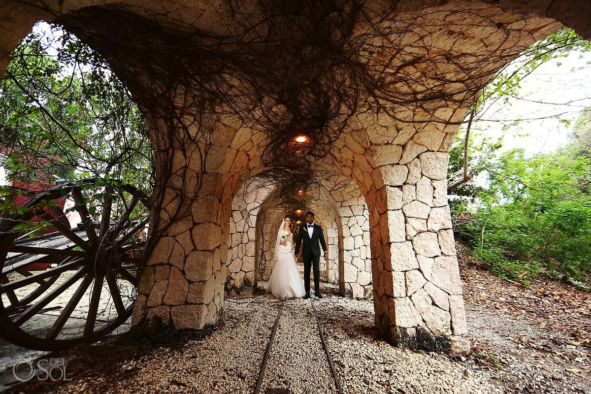 Bride and Groom Portrait Destination Wedding Xcaret Park Playa del Carmen Mexico.