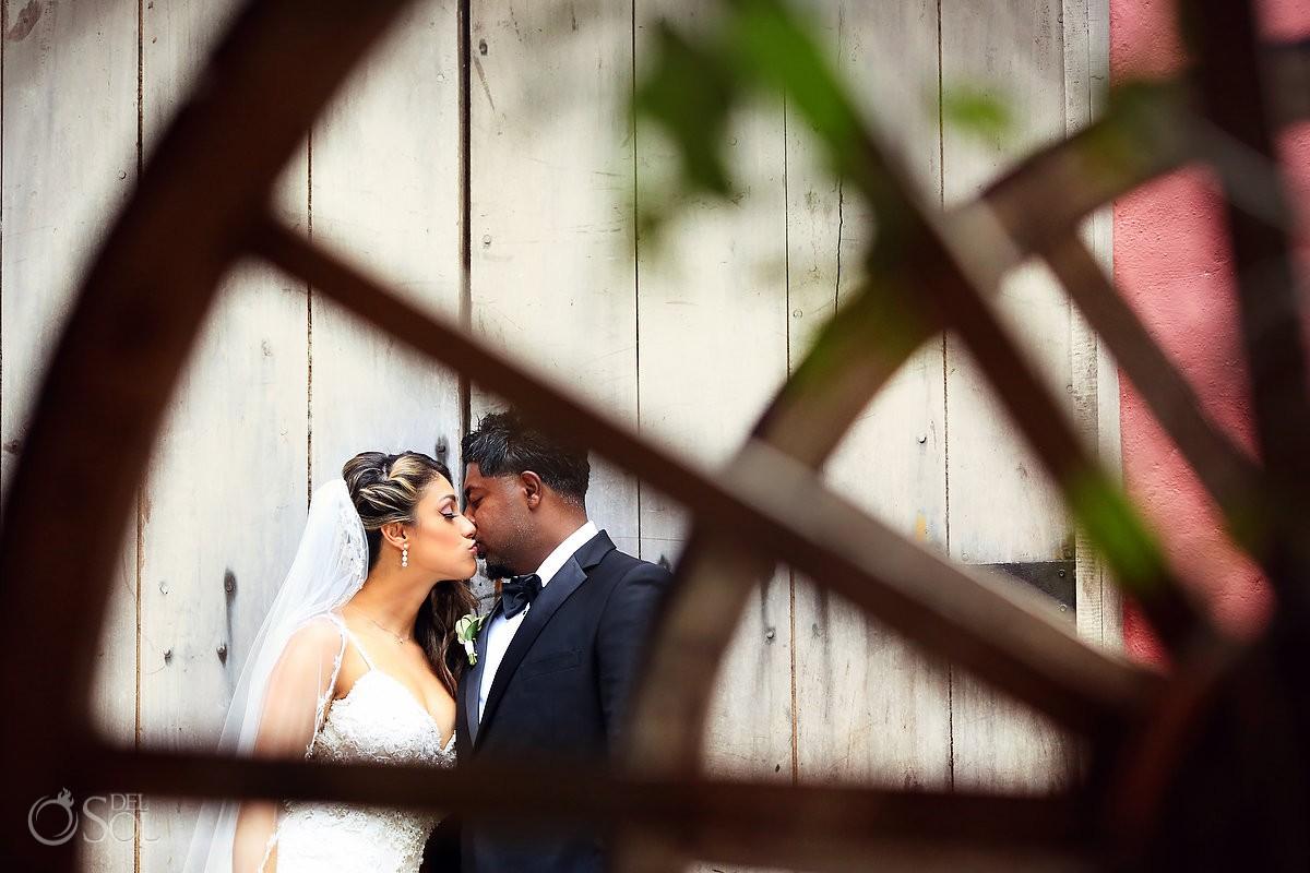 Beautiful bride and groom portrait Xcaret Park Playa del Carmen Mexico.