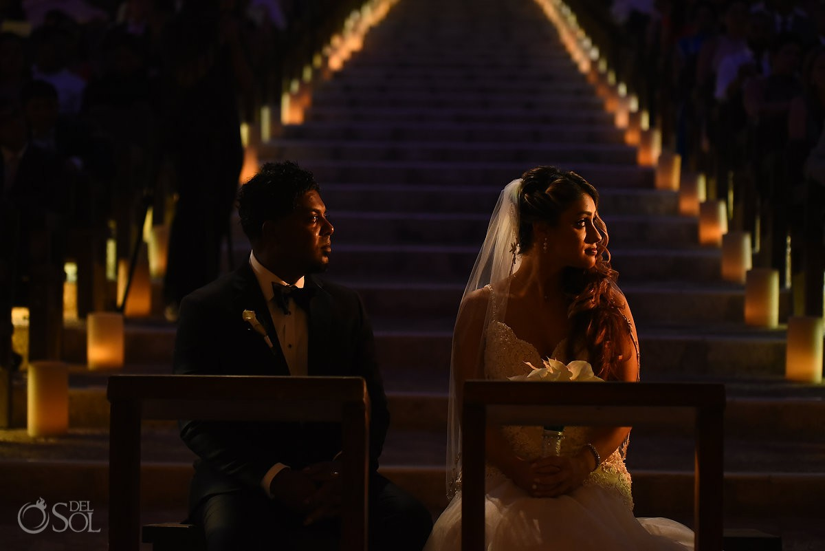 Creative light bride and groom portrait Xcaret Park Playa del Carmen Mexico.