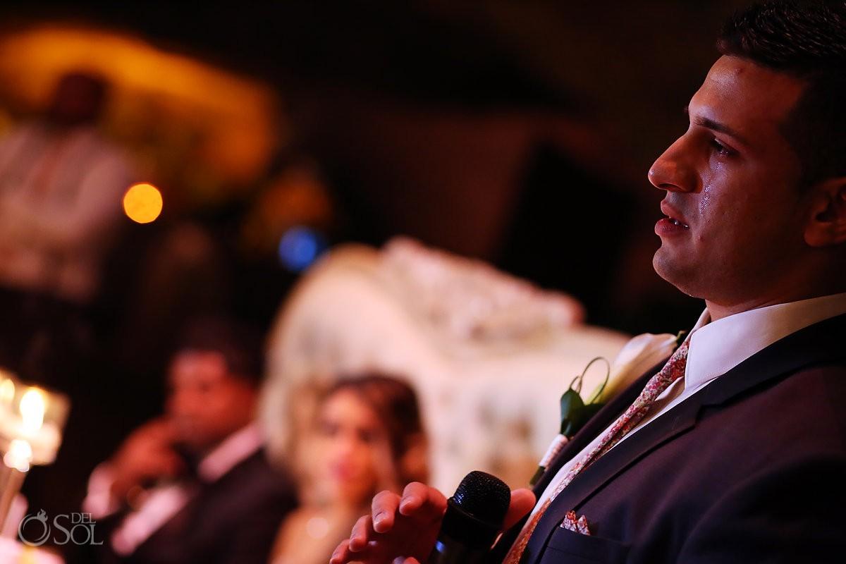 Emotional speech Xcaret Park Playa del Carmen Mexico wedding
