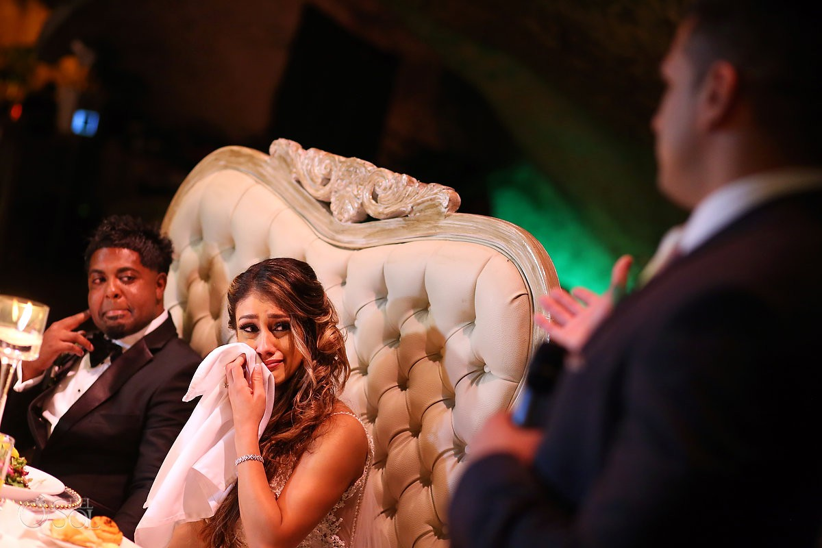 Bride crying speech reception destination wedding Xcaret Park Mexico