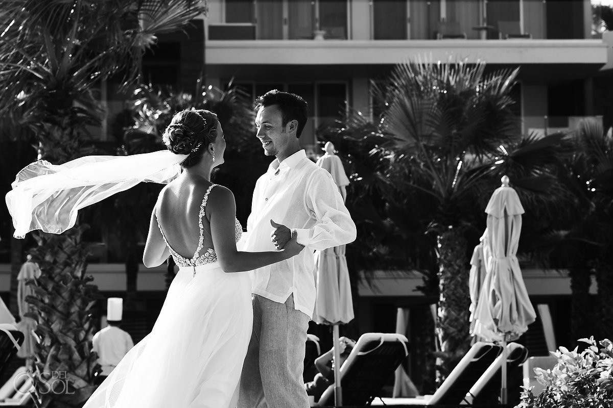 first look black and white photo Breathless Riviera Cancun Wedding Mexico