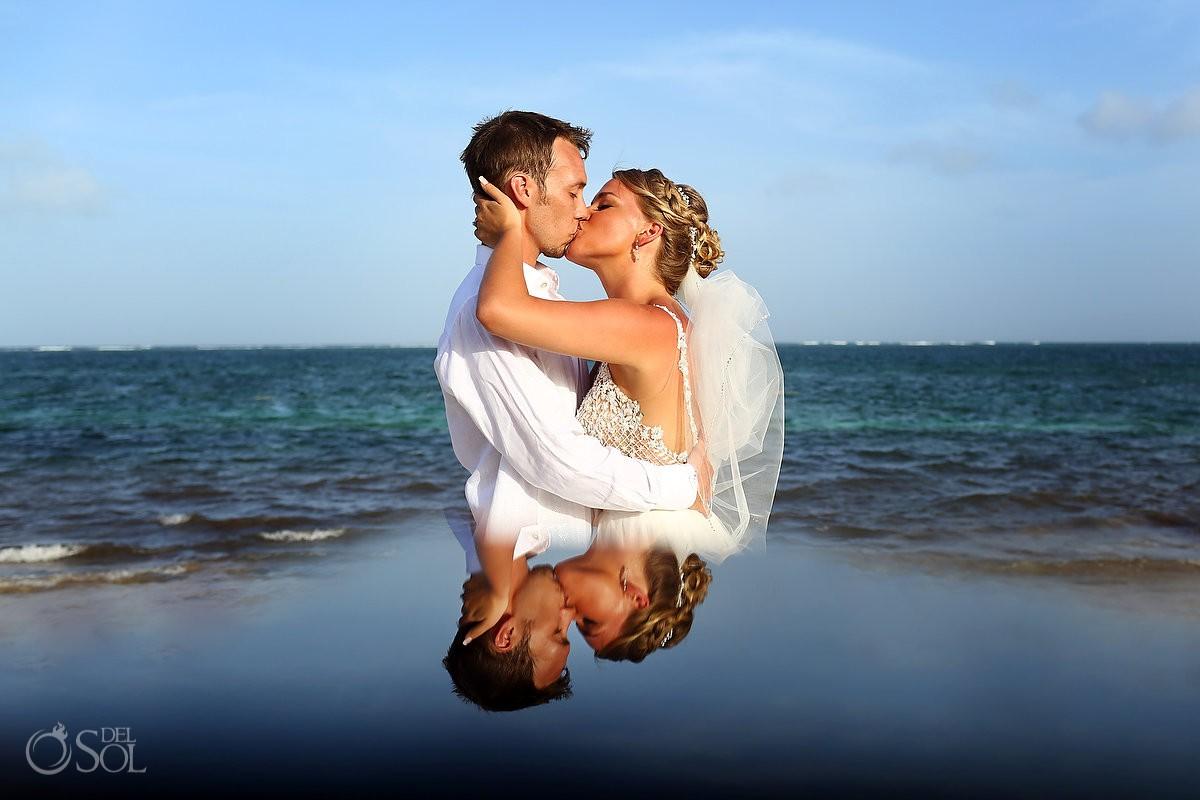 destination wedding portrait reflection Breathless Riviera Cancun Wedding Mexico