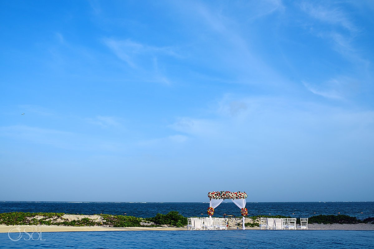 Breathless Riviera Cancun beach wedding set up, mexico
