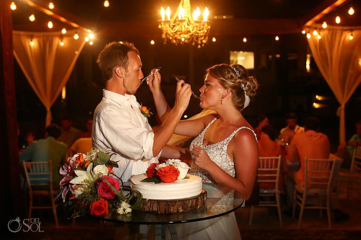 cake cutting Breathless Riviera Cancun Wedding Mexico