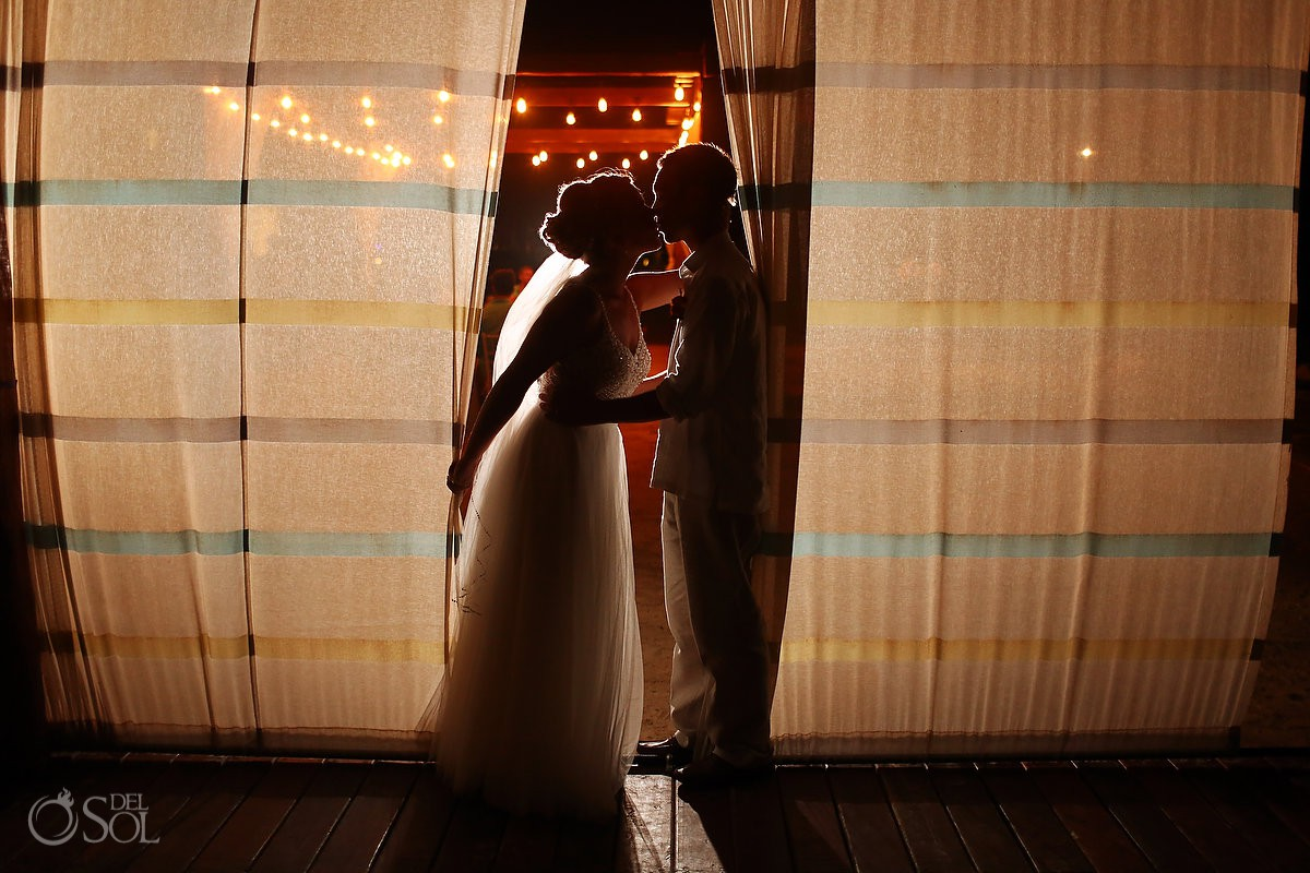 night portrait Breathless Riviera Cancun Wedding Mexico