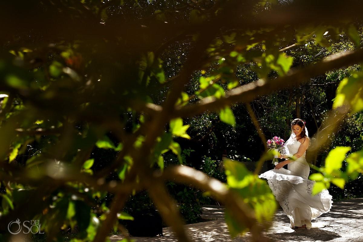 garden bride portrait spinning wedding dress Dreams Tulum Beach Wedding