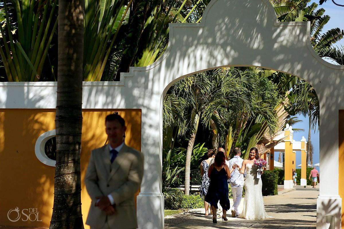first look Dreams Tulum Beach Wedding mexico