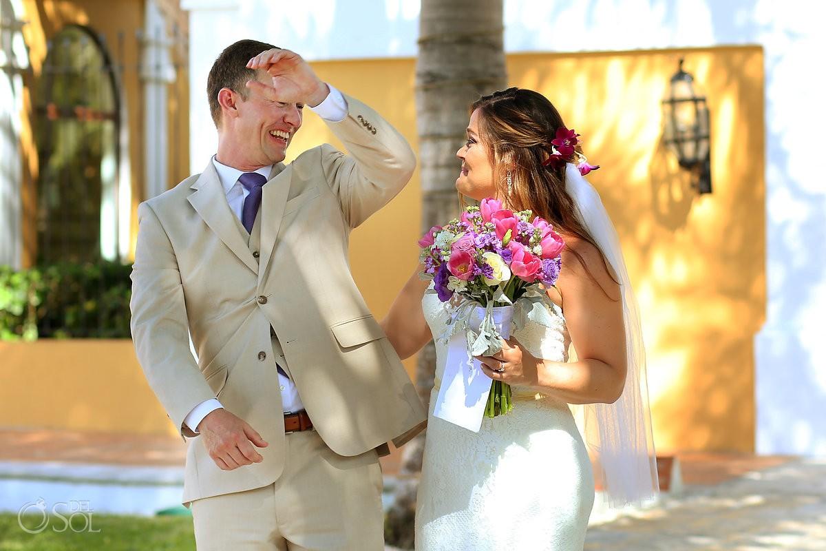 emotional first look Dreams Tulum Beach Wedding Mexico Caribbean