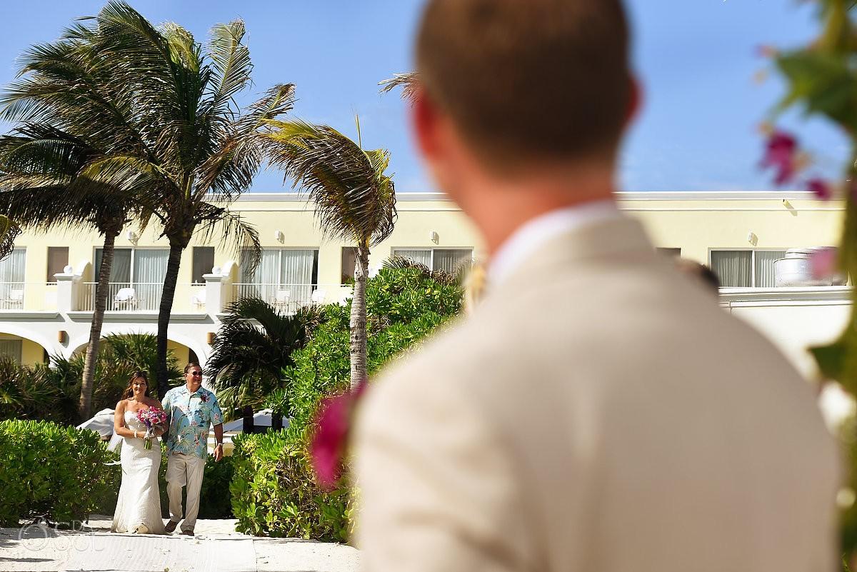 bride entrance Dreams Tulum Beach Wedding