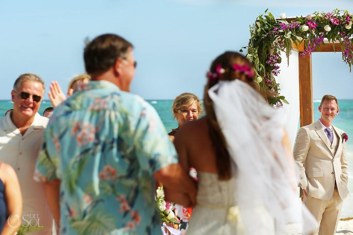 bride entrance first look groom's face Dreams Tulum Beach Wedding