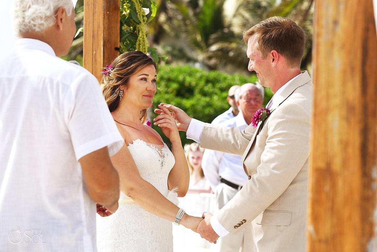 fun ceremony moment Dreams Tulum Beach Wedding