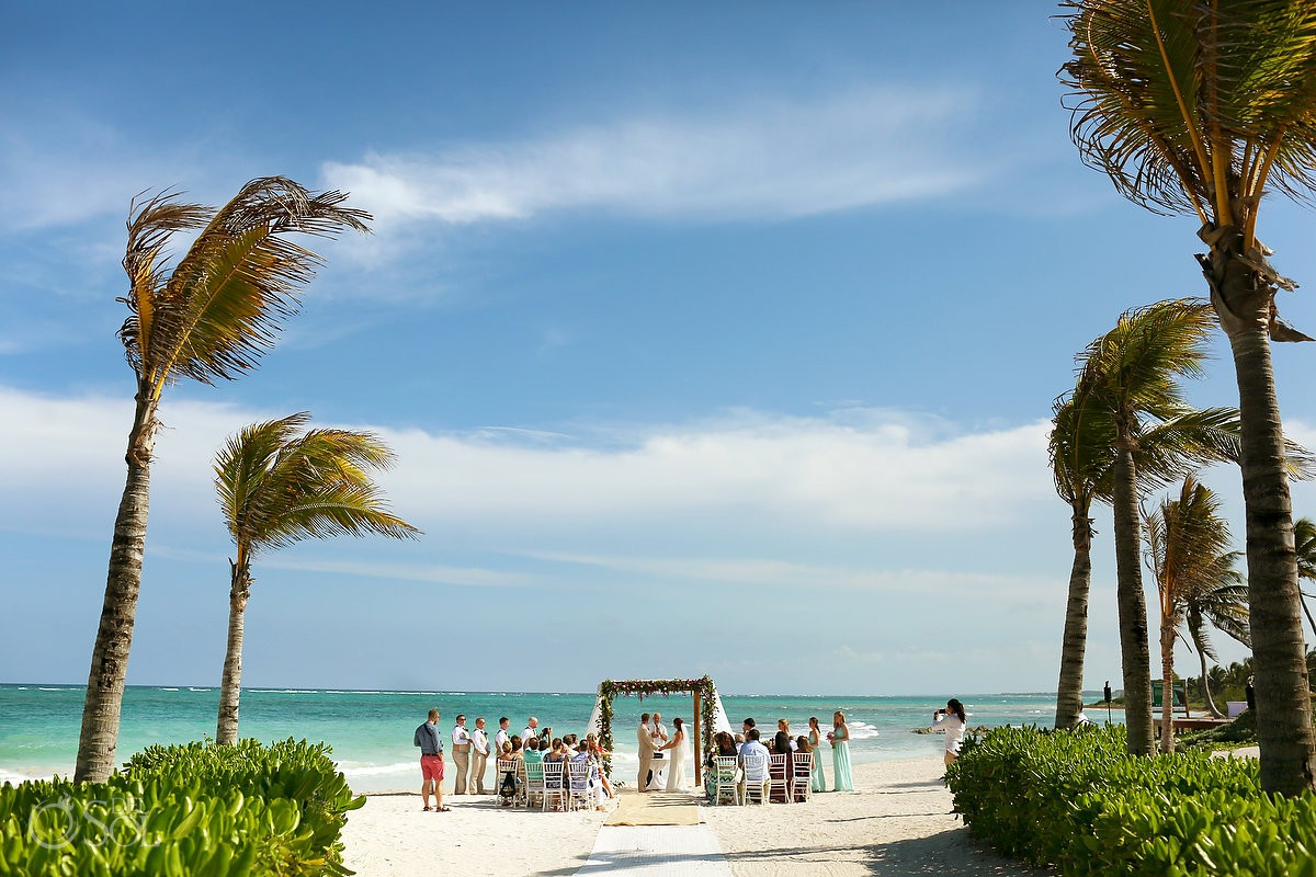 Dreams Tulum Beach Wedding ceremony set up perfect Caribbean destination wedding loccation