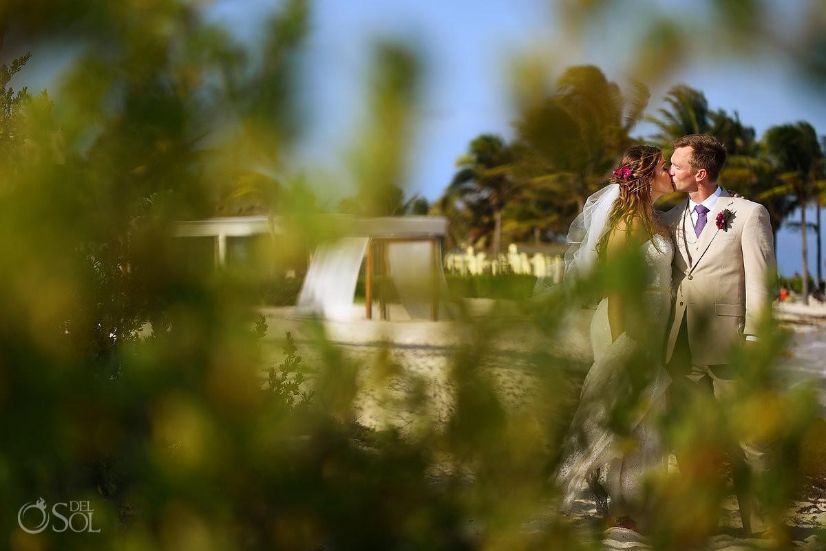 bride and groom portrait Dreams Tulum Beach Wedding