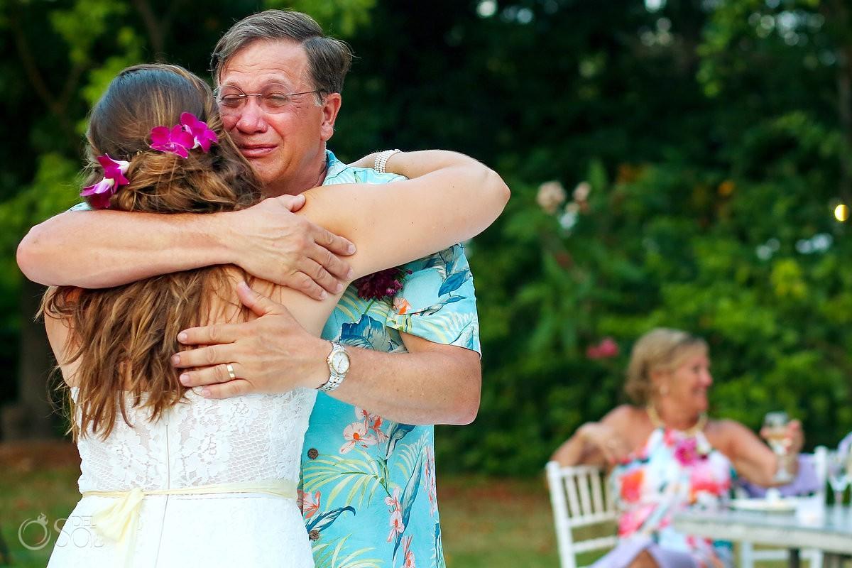 emotional father daughter first dance destination wedding reception Dreams Tulum garden