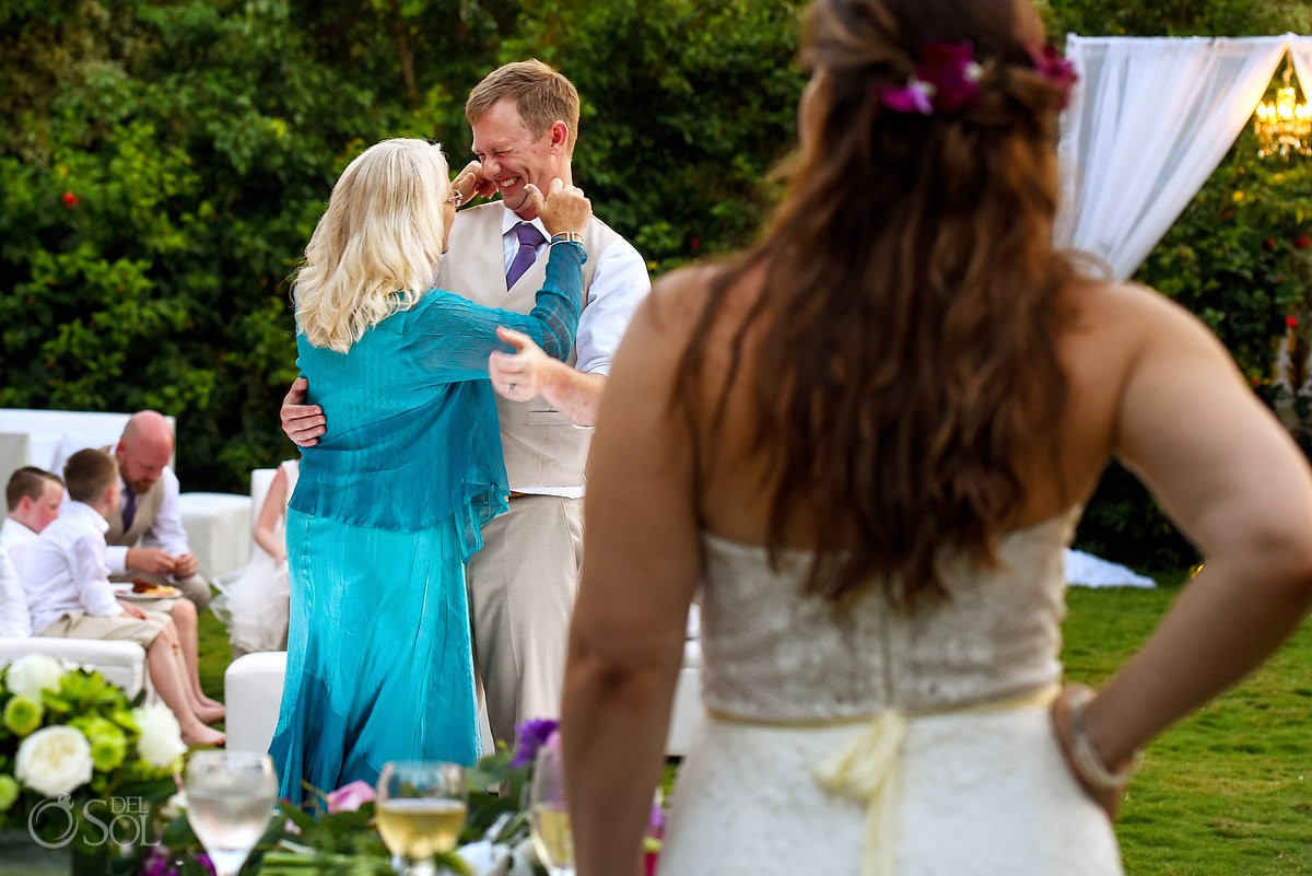 funny wedding picture mother and groom first dance destination wedding reception Dreams Tulum garden
