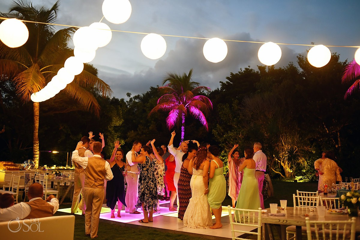 sunset dance floor party destination wedding reception Dreams Tulum garden