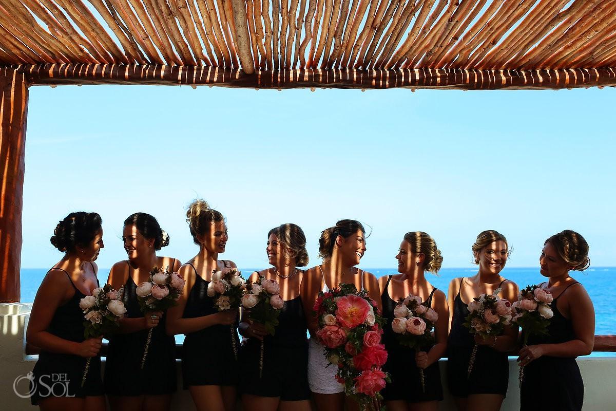 Bride and bridesmaids portrait beach destination Wedding Now Sapphire Riviera Cancun Riviera Maya Mexico