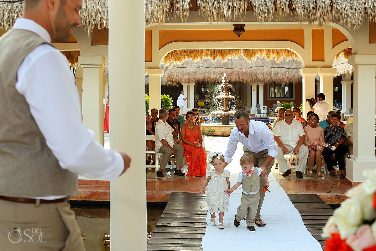 kids walking to the altar Wedding Now Sapphire Riviera Cancun Riviera Maya Mexico