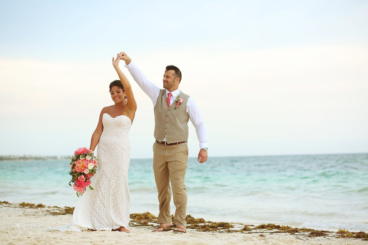 Bride and groom dancing beach Wedding Now Sapphire Riviera Cancun Riviera Maya Mexico