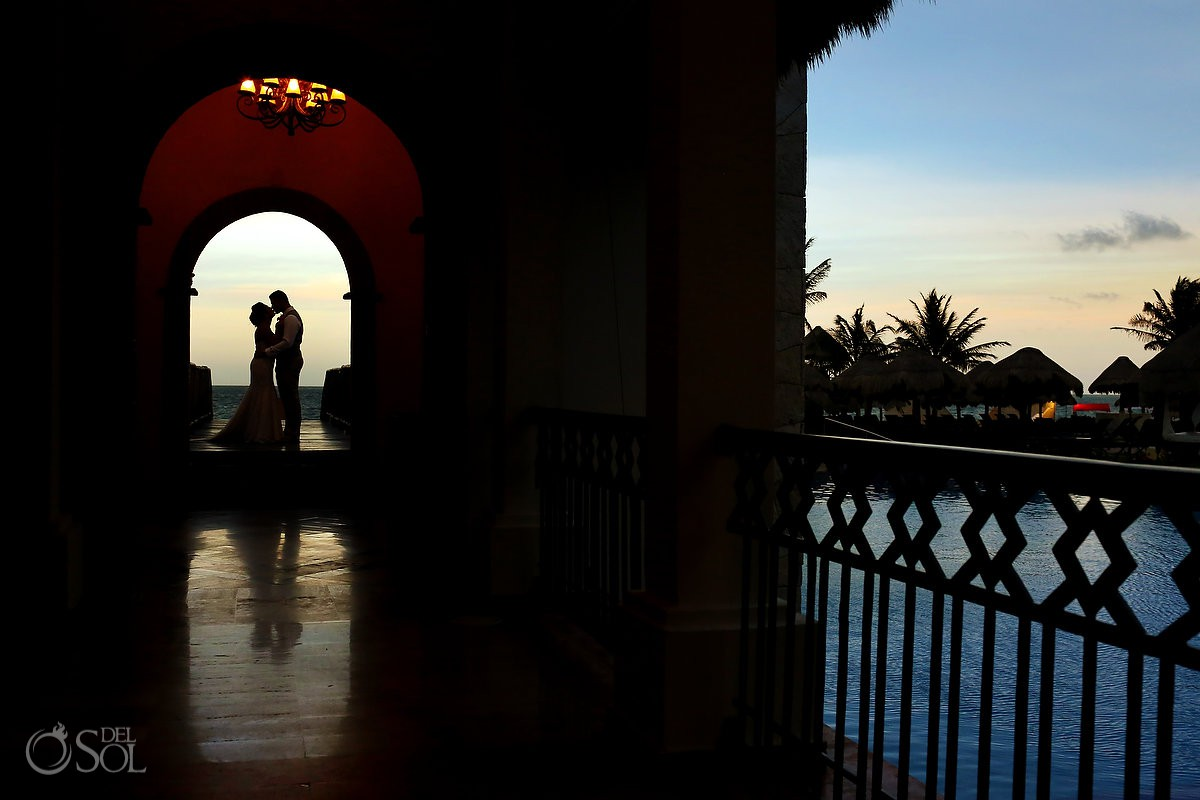 bride and groom sunset portrait Wedding Now Sapphire Riviera Cancun Riviera Maya Mexico