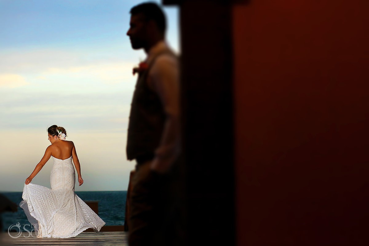 Creative bride and groom portrait groom silhouette Wedding Now Sapphire Riviera Cancun Riviera Maya Mexico