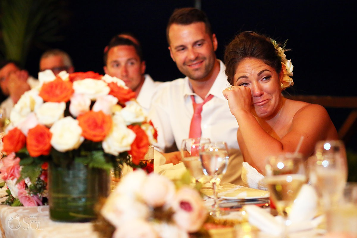 Bride crying guest speech Wedding Now Sapphire Riviera Cancun Riviera Maya Mexico