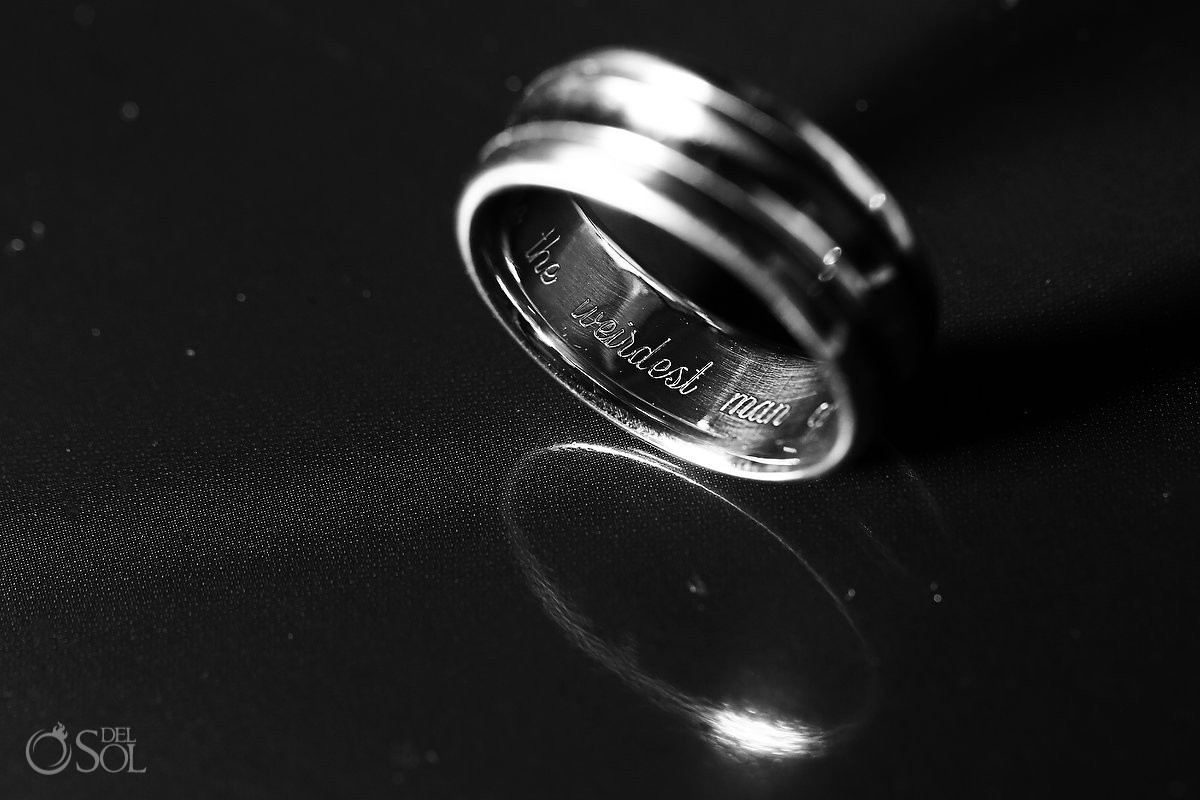 You're the weirdest many of my dreams funny wedding ring inscription macro photography