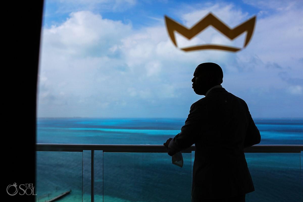 Groom getting ready silhouette crown Destination Wedding Riu Palace Peninsula Cancun Mexico