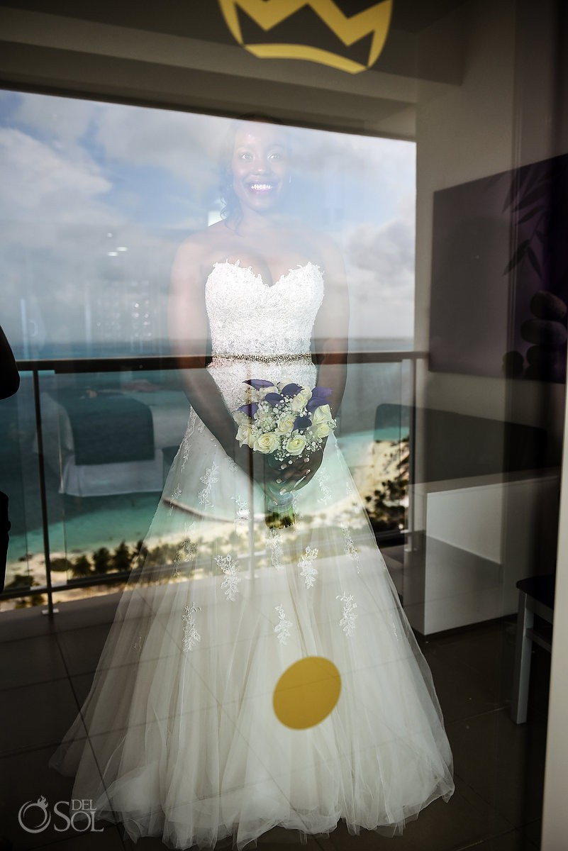 Bride Getting Ready Creative Reflection Destination Wedding Riu Palace Peninsula Cancun Mexico