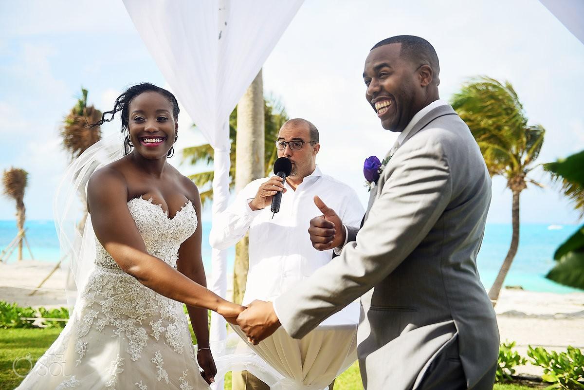 bride and groom smiling garden ceremony Destination Wedding Riu Palace Peninsula Cancun Mexico
