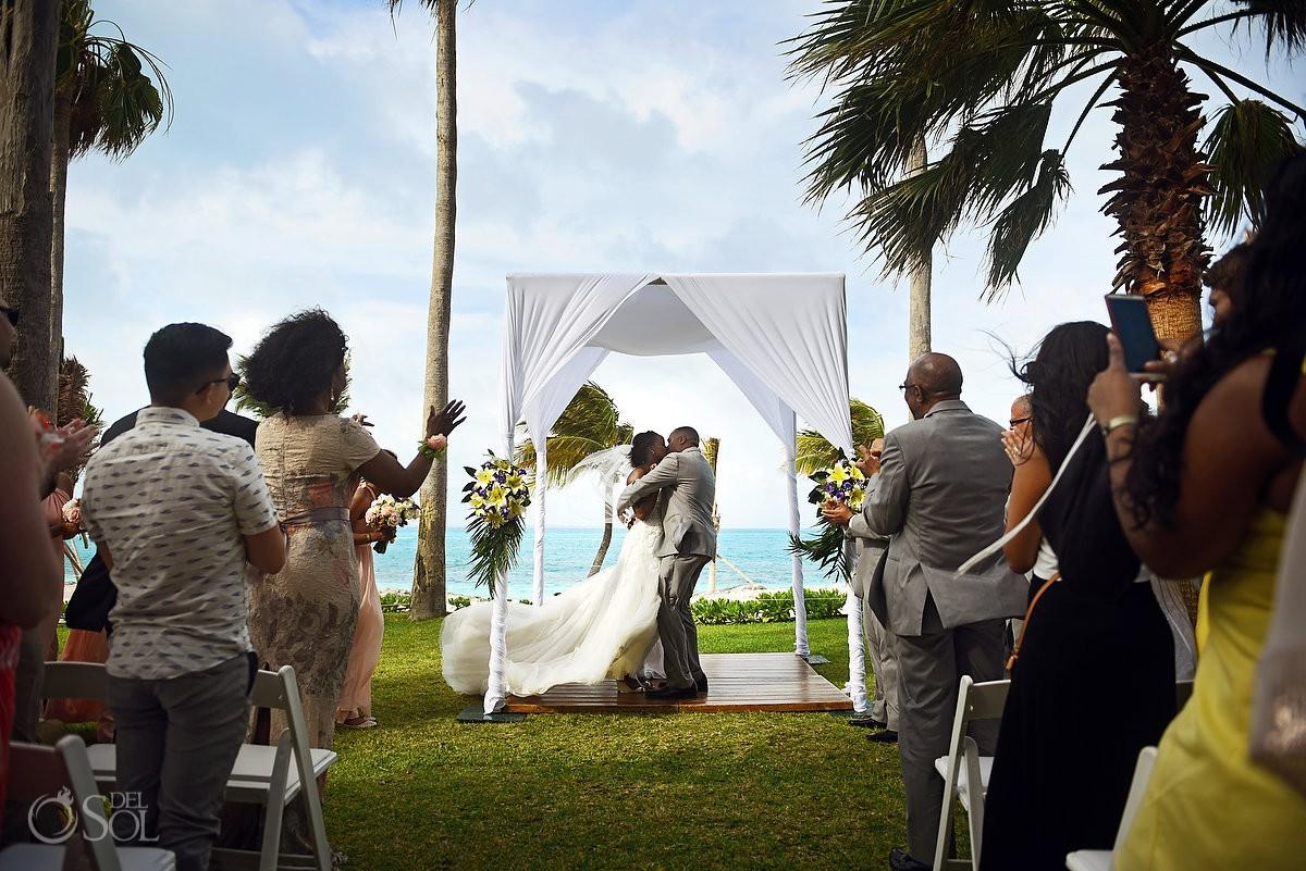 first kiss garden ceremony Destination Wedding Riu Palace Peninsula Cancun Mexico