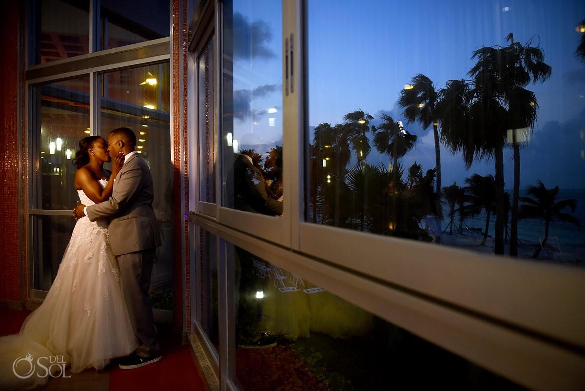 Twilight couple portrait Destination Wedding Riu Palace Peninsula Cancun Mexico