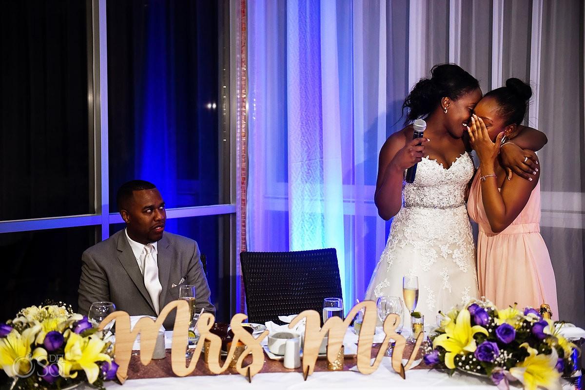 bride and sister emotional speech Destination Wedding reception glass Box Restaurant Riu Palace Peninsula Cancun Mexico