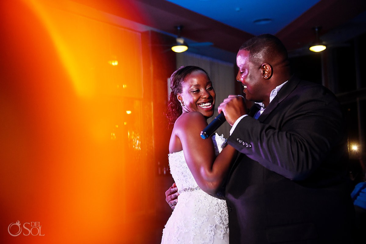 bride and brother dance Destination Wedding reception glass Box Restaurant Riu Palace Peninsula Cancun Mexico