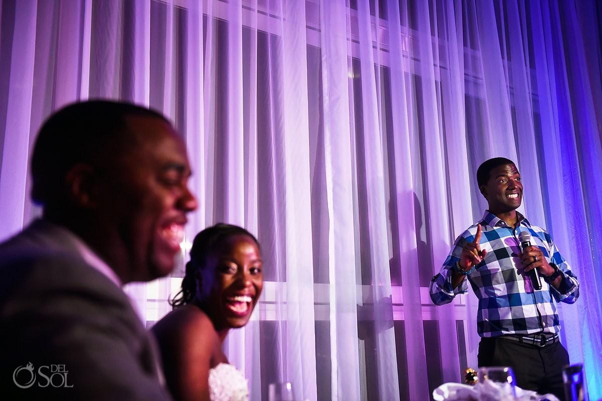 speeches Destination Wedding reception glass Box Restaurant Riu Palace Peninsula Cancun Mexico