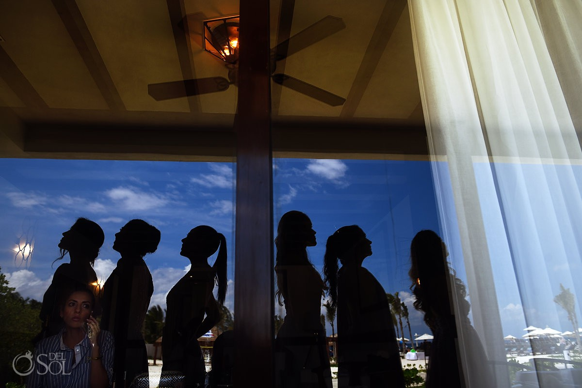 Bridesmaids Silhouette getting ready Ocean Paradise Riviera Maya Mexico