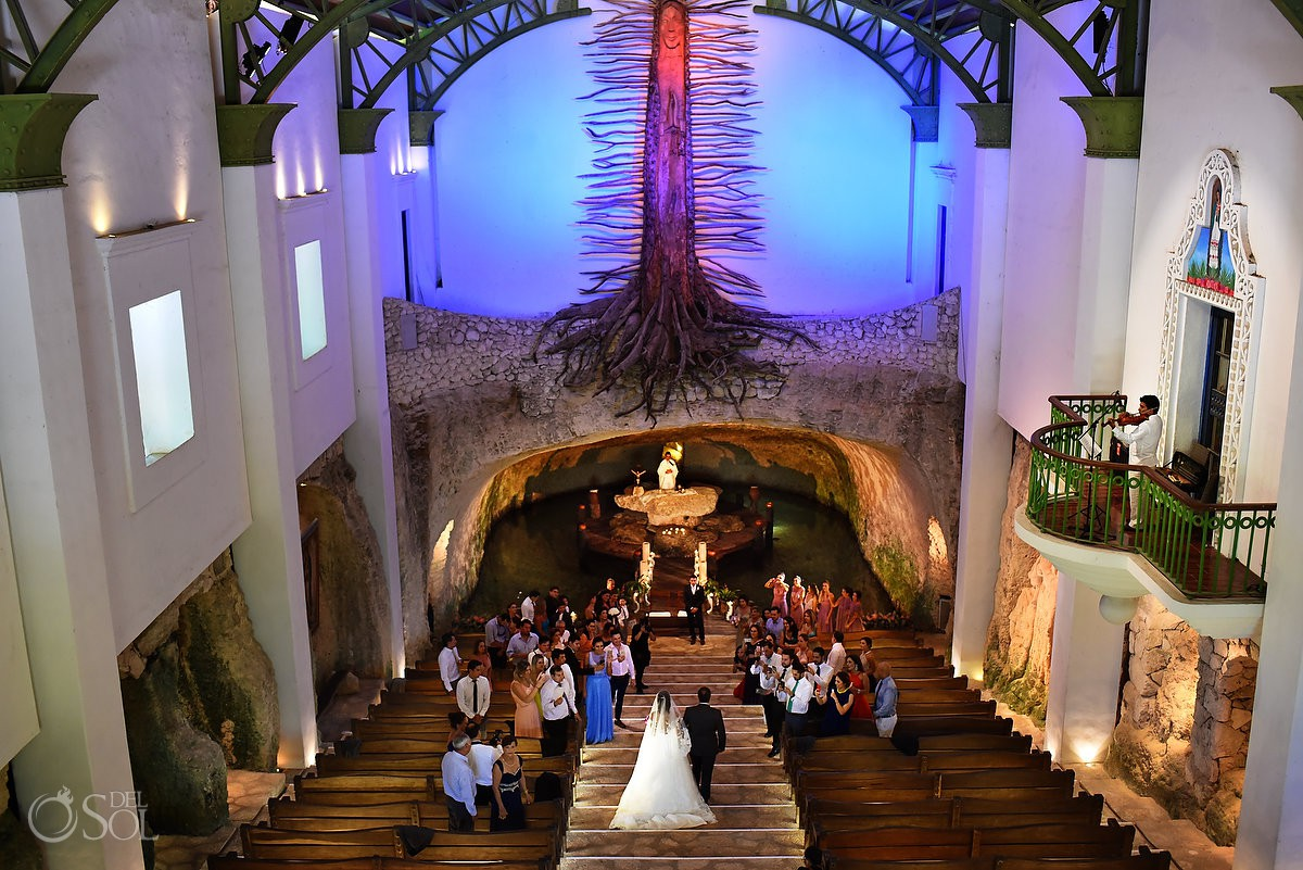 Amazing bride entrance wedding ceremony church Xcaret and Ocean Riviera Maya, Mexico