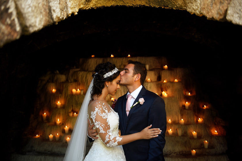 Beautiful bride and groom wedding portrait Xcaret and Ocean Riviera Maya, Mexico