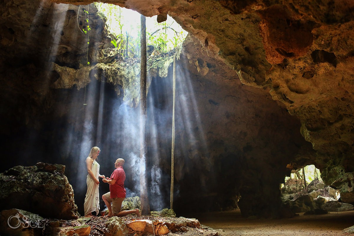 The best wedding proposal ever* Underground in a cenote, Playa del Carmen Mexico, Riviera Maya engagement