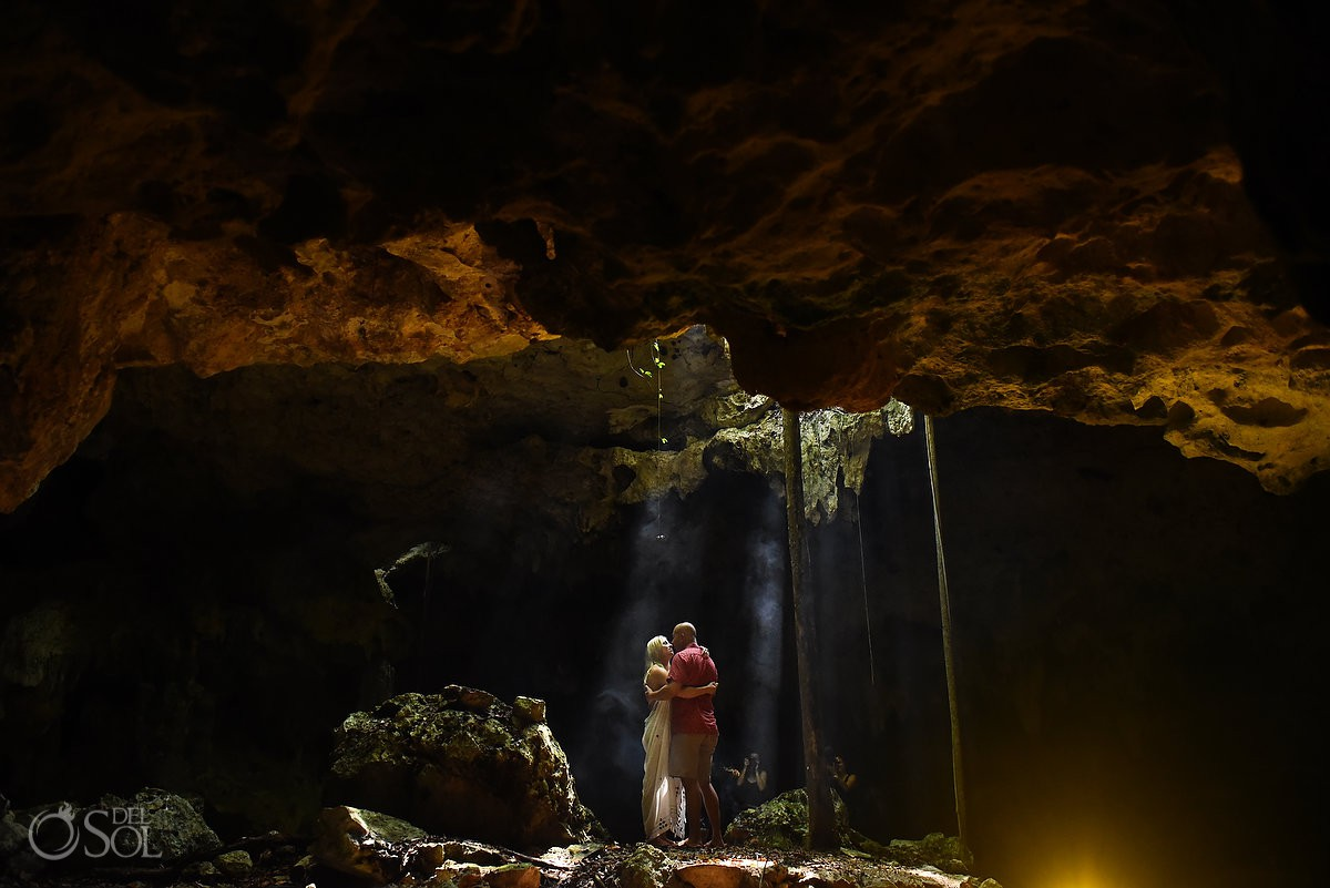 Fairytale Mermaid Proposal Riviera Maya Cenote couple silhouette dry cave rays of light