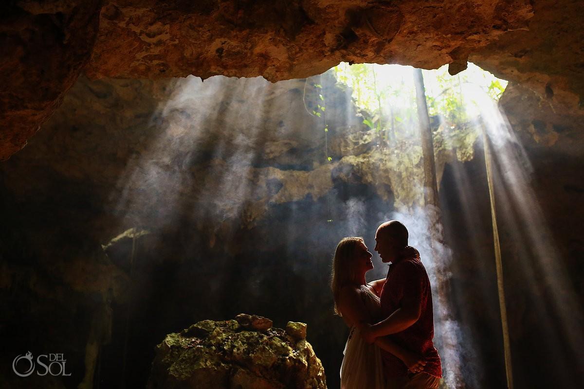 Fairytale Mermaid Proposal Riviera Maya Cenote couple silhouette dry cave rays of light